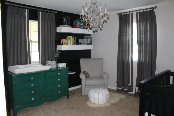 Maddox's Adventure Nursery in shades of grey, black, white and green.